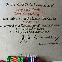 WW2 Medal group Cpl E Stafford Royal Corps Of signals Mentioned in Dispatches