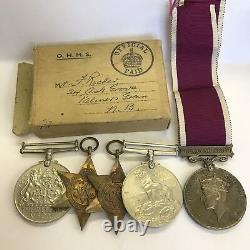 WW2 Regular Army Long Service Medal Group Sergeant Richer Royal Artillery Boxed