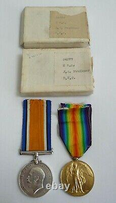 Ww1 British War And Victory Medal Pair Royal Flying Corps In Boxes Of Issue