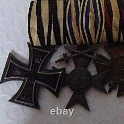 Ww1 Imperial German 6 Piece Medal Bar. All Original, Ribbons Do Not Glow