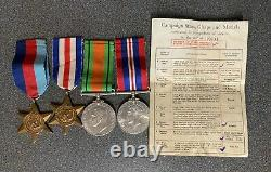 Ww2 Medal Grouping X4 Royal Armoured Corps Boxed Photo & Slip Ex British Legion